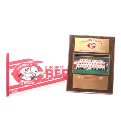 Joe Nuxhall Signed Pennant with a 1990 Reds World Championship Plaque