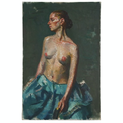 Jacques Zuccaire Oil Painting of Nude Figure in Blue Skirt, 20th Century