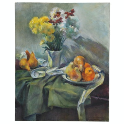 Jacques Zuccaire Floral Still Life Oil Painting with Pears and Oranges