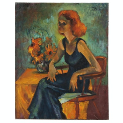 Jacques Zuccaire Oil Painting of Seated Figure, 20th Century
