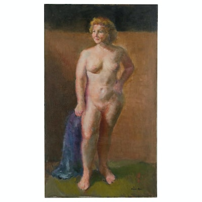 Hiroko Mori Oil Painting of Nude Figure, 20th Century