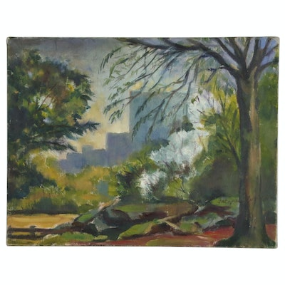 Jacques Zuccaire Oil Painting of Park Interior Scene, 20th Century