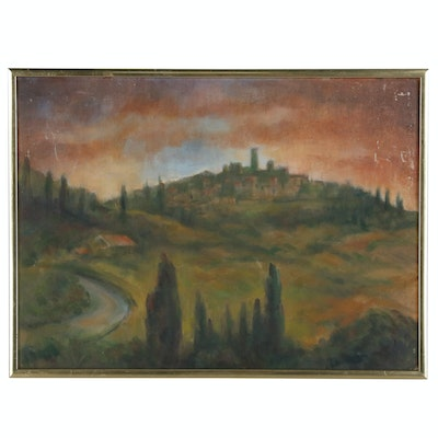 Jacques Zuccaire Oil Painting of Landscape at Sunset, 20th Century