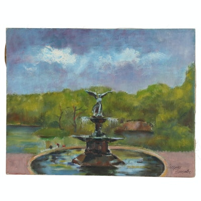 Jacques Zuccaire Oil Painting of Park Fountain, 20th Century