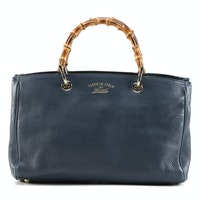 Gucci Bamboo Two-Way Shopper Tote in Dark Blue Grained Leather