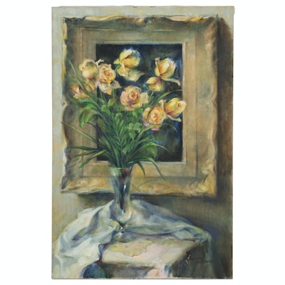 Jacques Zuccaire Floral Still Life Oil Painting with Yellow Roses, 20th Century