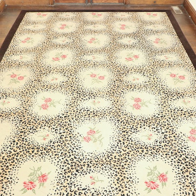 9' 1 x 13' 4 Machine Woven Rose and Leopard Print Area Rug