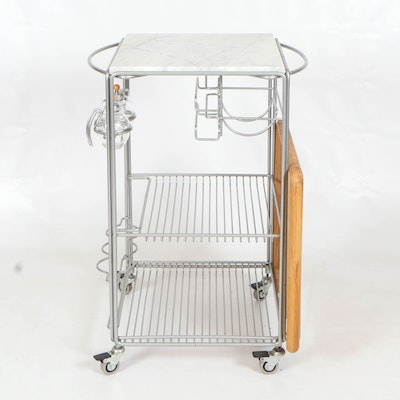 Marble Top and Brushed Silver Tone Serving Cart on Wheels