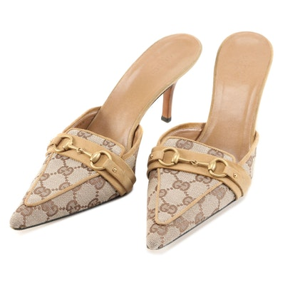 Gucci GG Canvas, Leather and Horsebit Accented Mules