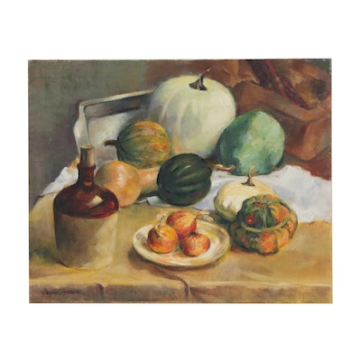 Jacques Zuccaire Still Life Oil Painting of Pumpkins and Gourds, 20th Century