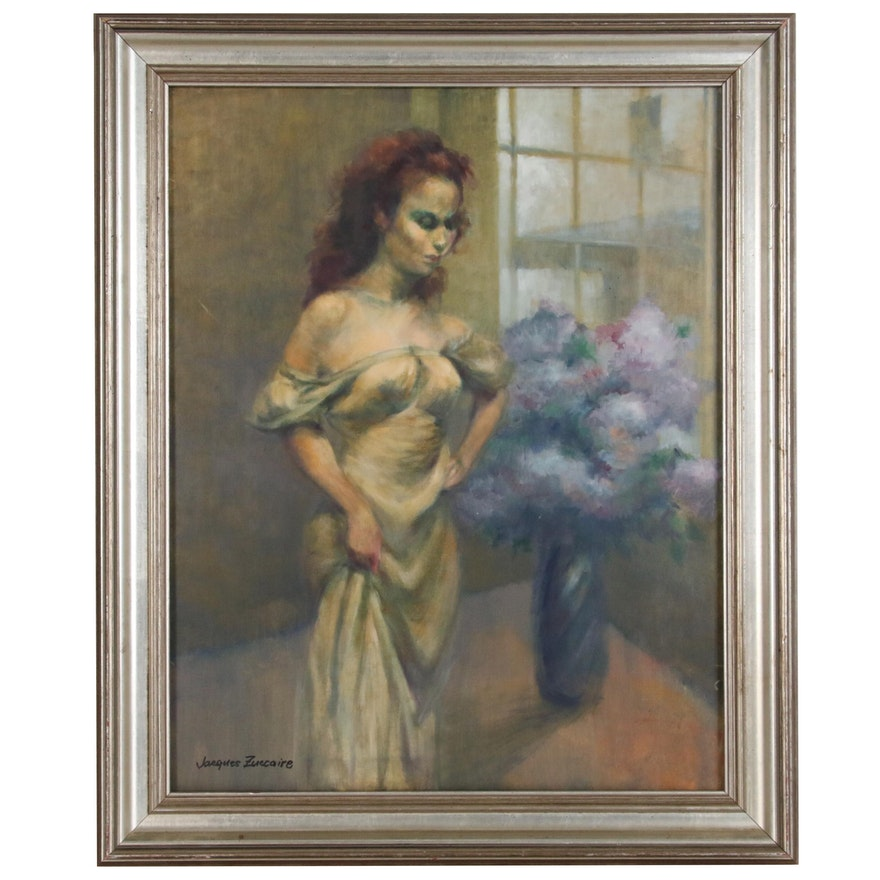 Jacques Zuccaire Oil Painting of Figure with Bouquet, 20th Century