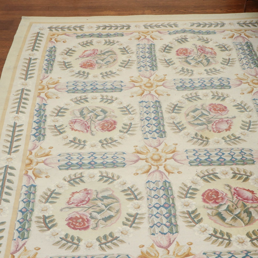8' 7 x 10' 2 Hand-Knotted Floral Wool Area Rug, 20th Century