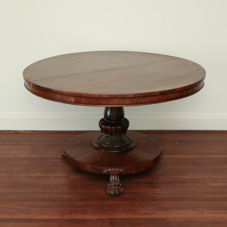 Oak Carved Pedestal Dining Table with Lion's Paw Feet, 20th Century