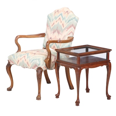 Queen Anne Style Upholstered Arm Chair and Wooden Glass Display Side Table