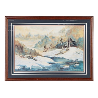 Winter Forest Landscape Offset Lithograph after Robert Shoemaker