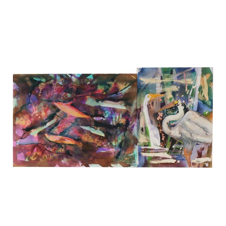 Phiris Kathryn Sickels Abstract Wildlife Watercolor Paintings