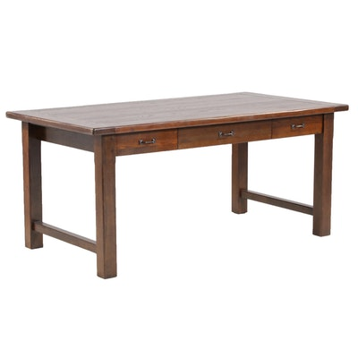 Oak Contemporary Three-Drawer Desk