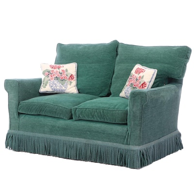 Green Slipcovered Loveseat with Bullion Fringe, 20th Century