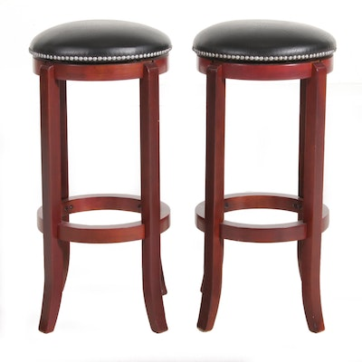 Pair of Leather Upholstered Barstools, 21st Century