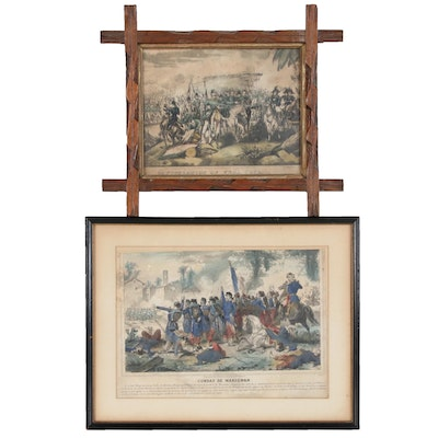 "Lithographic Prints After ""Combat de Marignan"" and ""Capitulation of Vera Cruz"""