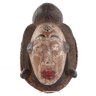 Punu Polychrome Carved Wooden Mask, Central Africa