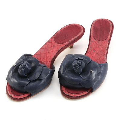 Chanel Camelia Flower Kitten Heels in Dark Blue Leather and Quilted Cork Insoles