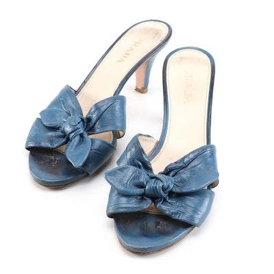 Prada Blue Leather High-Heeled Bow Mule Sandals