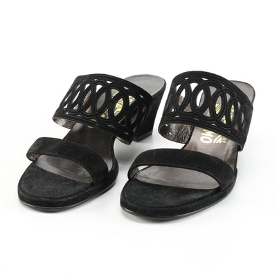 Salvatore Ferragamo Cut-Out Black Suede Block-Heeled Sandals