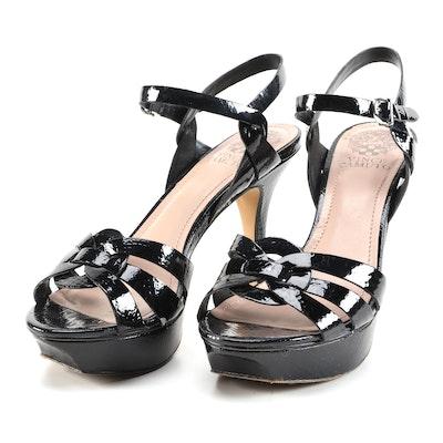 Vince Camuto Toleo Platform Sandals in Black Snakeskin Embossed Patent Leather