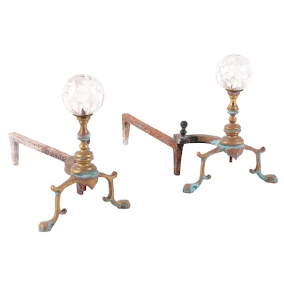 Pair of St. Clair Brass Andirons with Orbs, Mid 20th Century