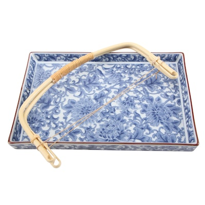 Blue and White Porcelain Tray with Bamboo Handles, Late 20th-Early 21st Century