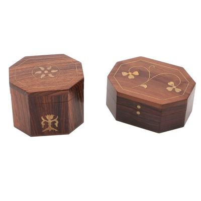 Anglo Indian Brass Inlay on Rosewood Lidded Keepsake Boxes