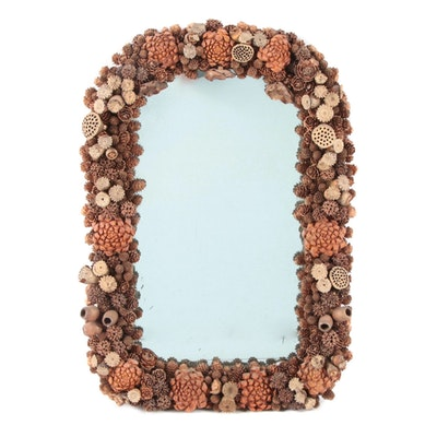 Painted Pine Cone, Acorn, and Other Natural Material Decorated Wall Mirror