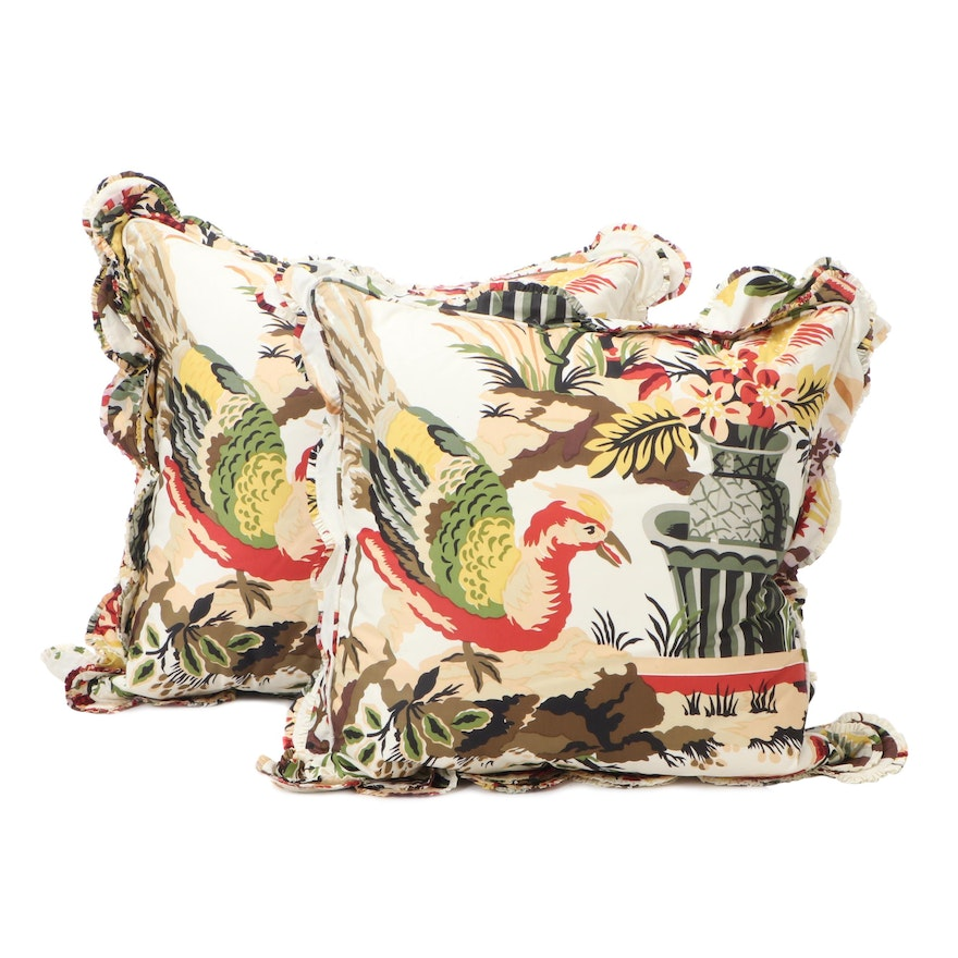 Pair of Scalloped Ruffle Accent Pillows, Late 20th Century
