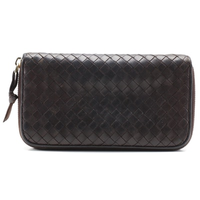Bottega Veneta Dark Brown Intrecciato Leather Zipper Wallet