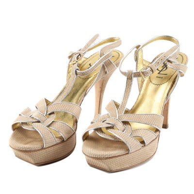 Yves Saint Laurent Tribute 75 Sandals in Wheat, Gold and Silver Metallic