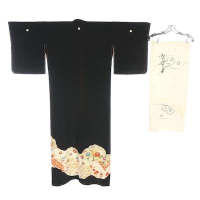 Maple Leaf and Chrysanthemum Five Mon Kurotomesode Kimono with Tatoshi Paper