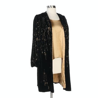 Lourdes Chavez Metallic Gold Embroidered Black Silk Velvet Coat and Silk Blouse