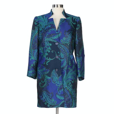 Lourdes Chavez Paisley Embroidered Silk Button Front Coat
