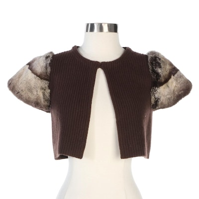Rex Rabbit Fur Trimmed Ribbed Brown Cashmere Knit Vest from Neiman Marcus