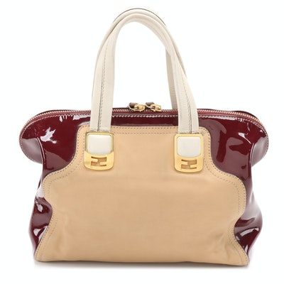 Fendi Chameleon Satchel in Tri-Color Leather/Patent Leather