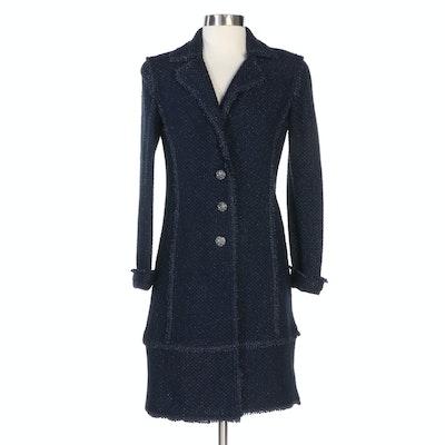 St. John Dark Blue Santana Knit Button Front Coat with Metallic Threading