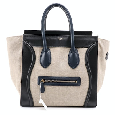 Céline Mini Luggage Tote in Black Leather and Natural Canvas