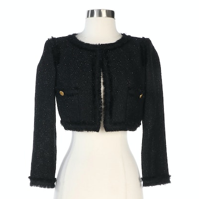 Chanel Black Tweed Knit Bead Embellished Cropped Sweater