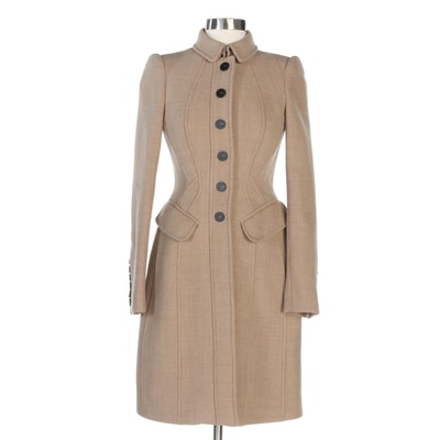 Burberry Porsum Crepe Wool Tailored Button-Front Coat