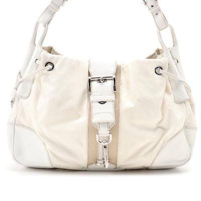Prada Ivory Nylon and White Leather Trimmed Web Stripe Shoulder Bag