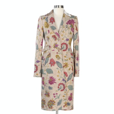 ETRO Floral Graphic Tan Wool Button-Front Coat with Velvet Trimmed Collar