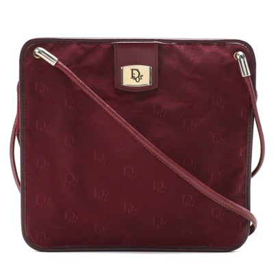 Christian Dior Burgundy Dior Canvas and Leather Trimmed Crossbody Bag, Vintage