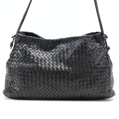 Bottega Veneta Black Intrecciato Woven Lambskin Leather Shoulder Bag, Vintage