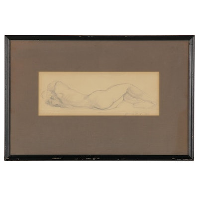 Reclining Nude Graphite Drawing, 1964